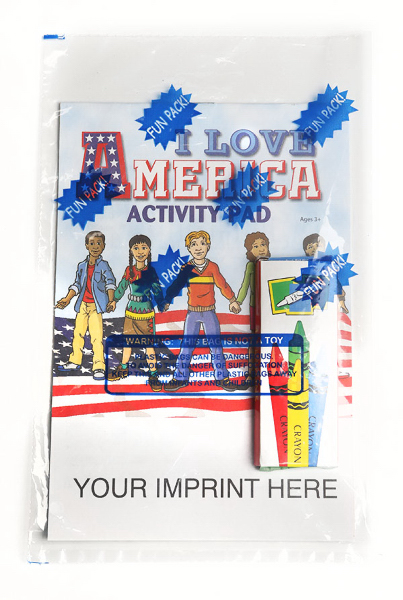 Imprinted I Love America Activity Pad Fun Pack