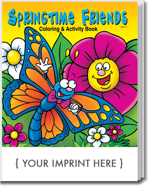 Imprinted Springtime Friends Coloring and Activity Book