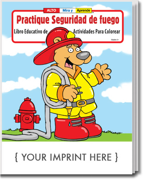 Customized Practice Fire Safety Spanish Coloring and Activity Book