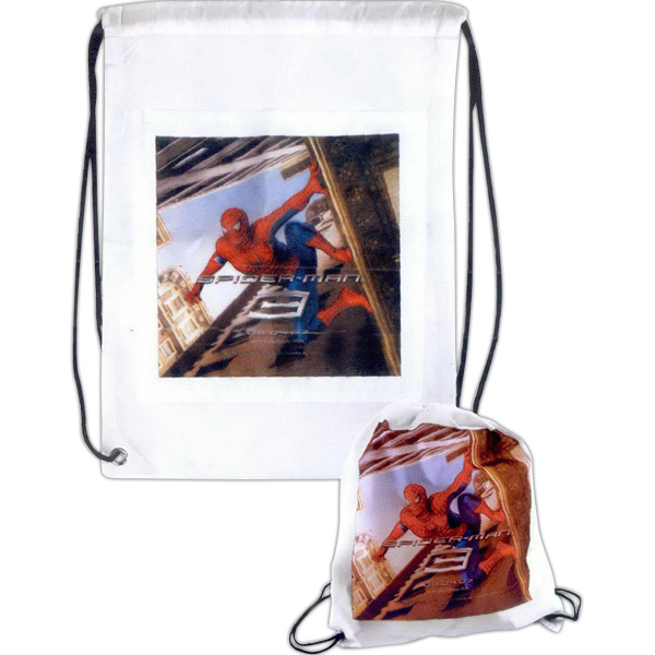 Customized Full color nylon drawstring backpack with front pocket