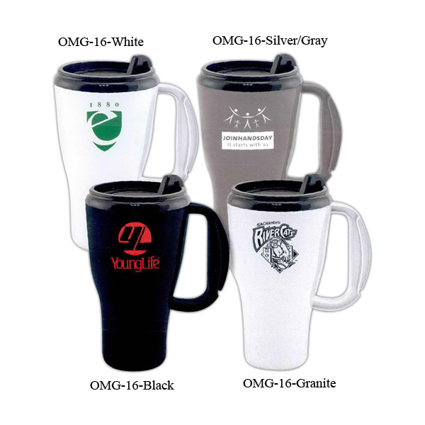 Printed Omega plastic travel mug - 16oz