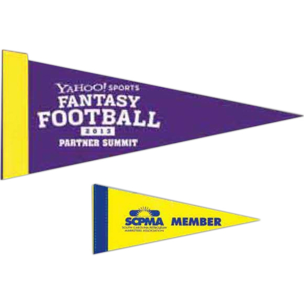 Printed Colored Felt Pennant with Sewn Strip