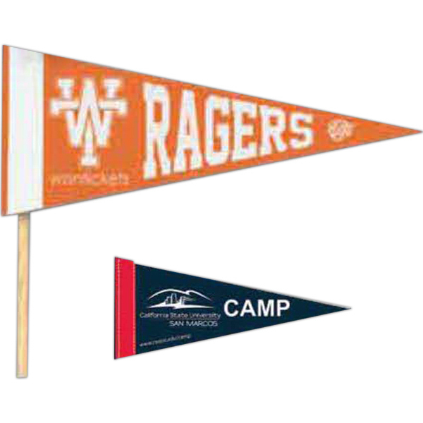 "Printed Colored Felt Pennant with 1"" Sewn Strip"