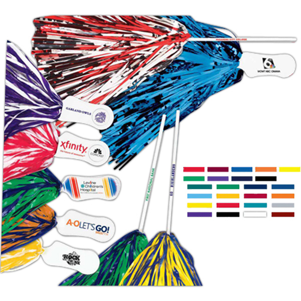 Promotional Imprinted Pom with All Metallic Streamer