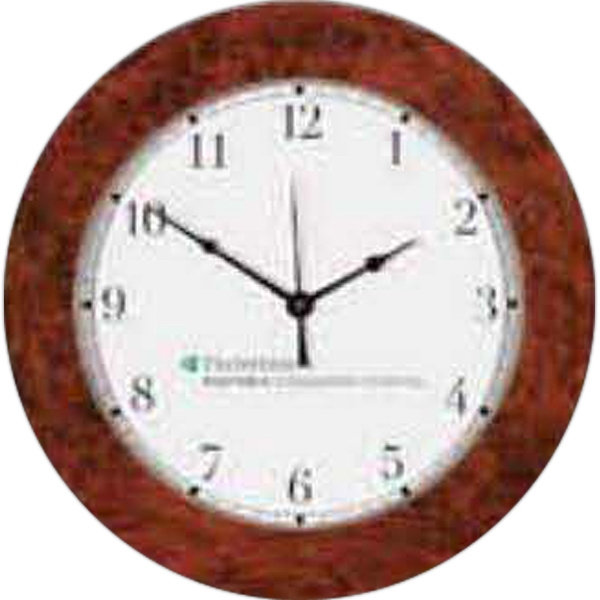 Imprinted Simulated Burl Wood Wall Clock