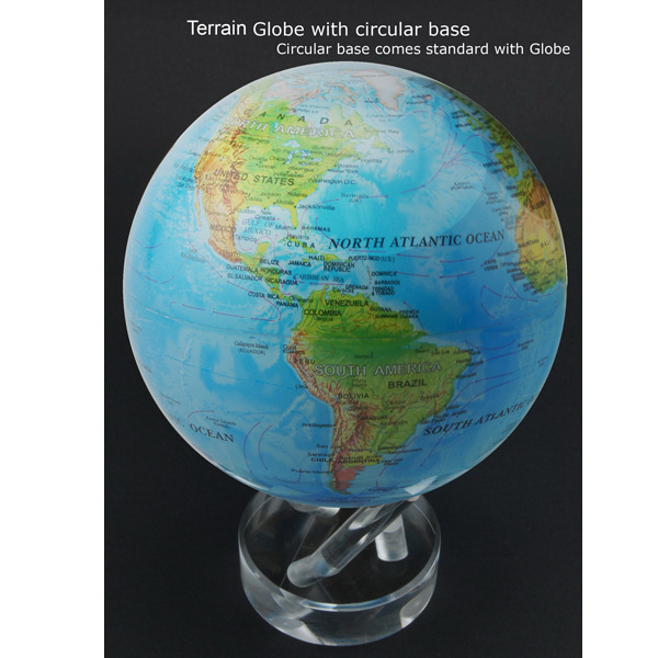 Personalized 4.5 Inch Mova Globe Blue Relief Map