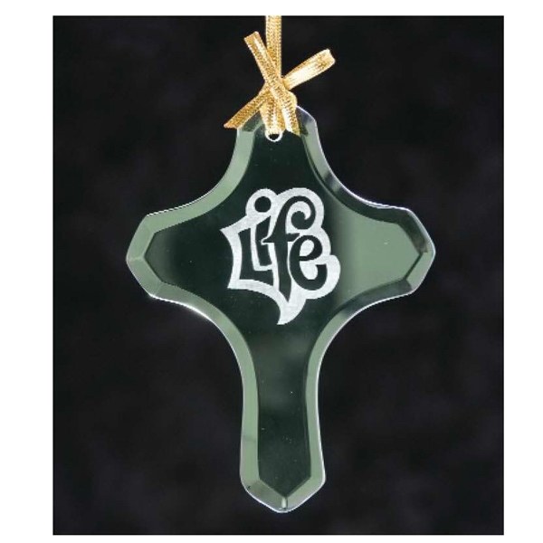Personalized Cross Jade Glass Ornament