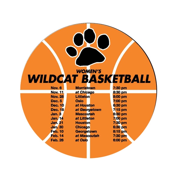 Custom Schedule Basketball Magnet