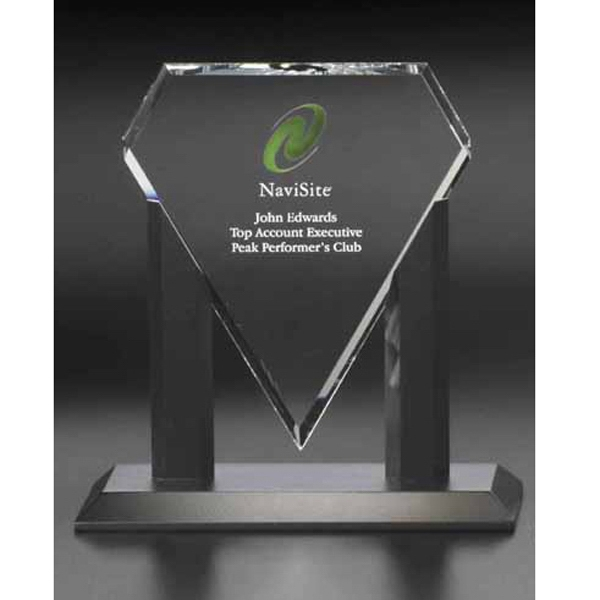 Personalized Solitaire Triad Glass Medium Award