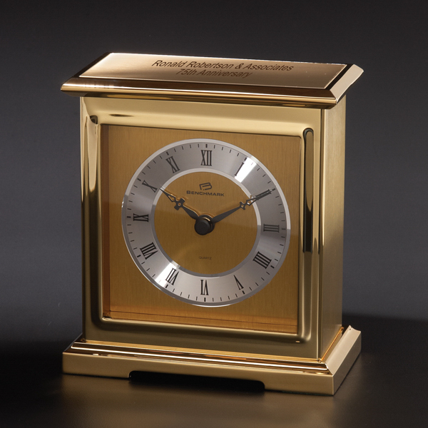 Personalized Interlude Brass Clock