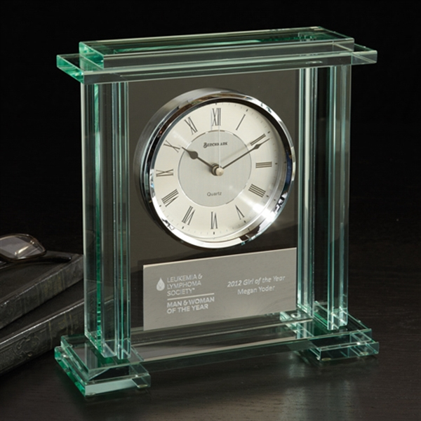 Printed Caspian Jade Glass Clock