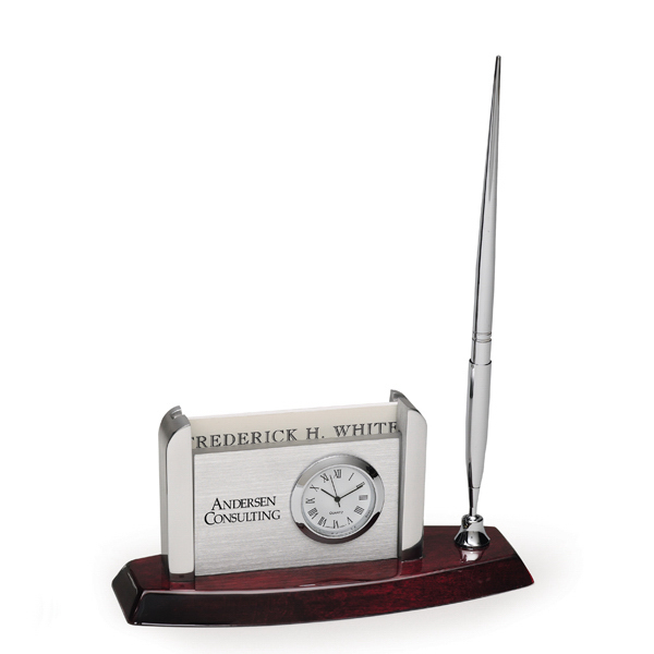 Custom Envoy Clock Desk Set