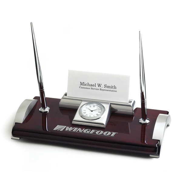 Promotional Ambassador Clock Desk Set