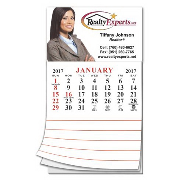 Printed Calendar/Note Pad Business Card Magnet