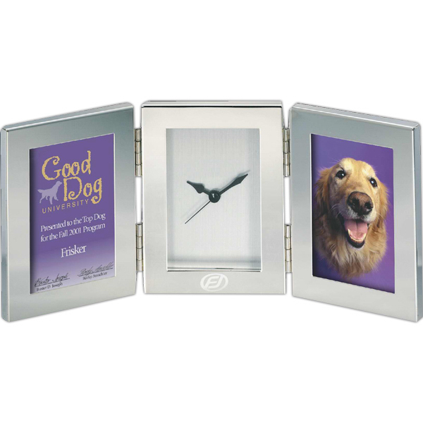 Imprinted Silver Double Frame / Clock