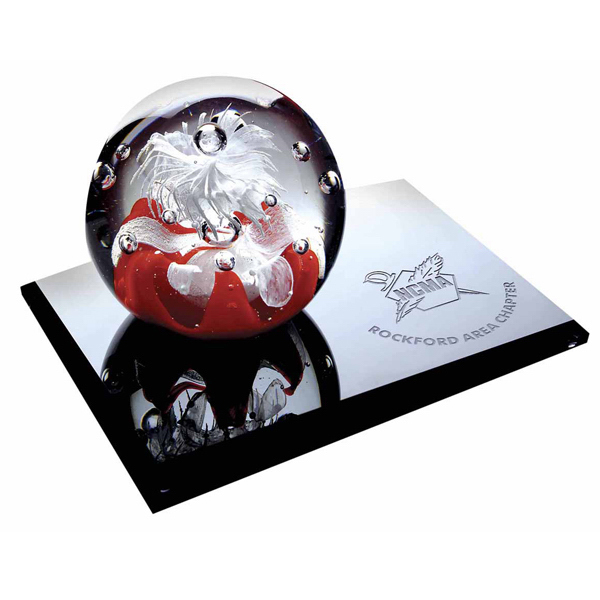 Personalized Katin Art Glass Award with Base