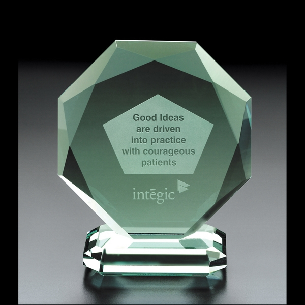 Personalized Octoman Octagon Jade Glass Award