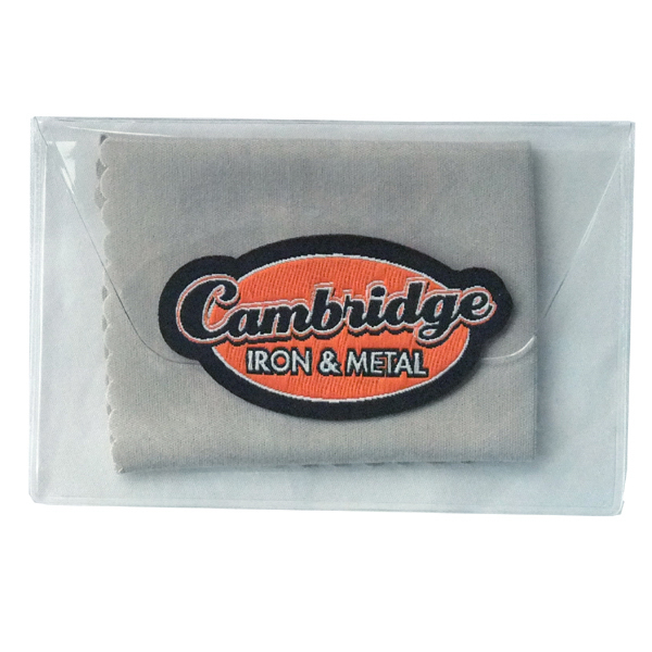 Personalized Microfiber cleaning cloth with vinyl pouch