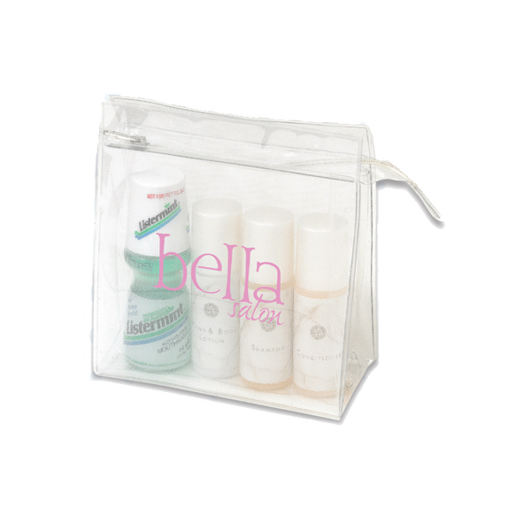Personalized Medium Trendy clear and mesh cosmetic bag
