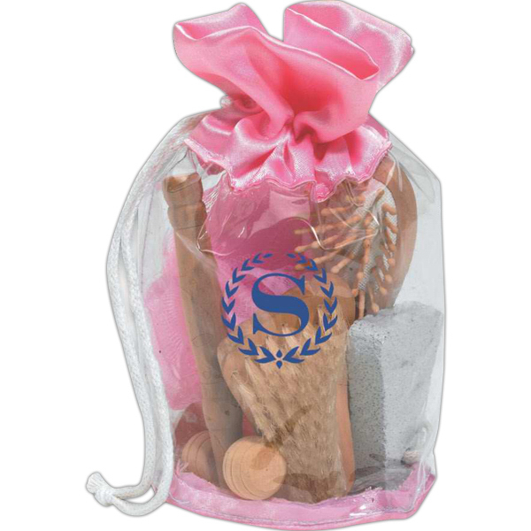 Personalized Pink drawstring spa set