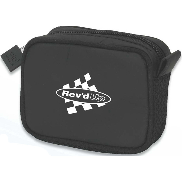 Printed Black compact amenity bag