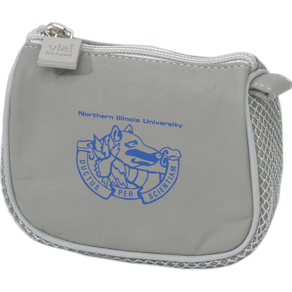 Printed Gray compact amenity bag