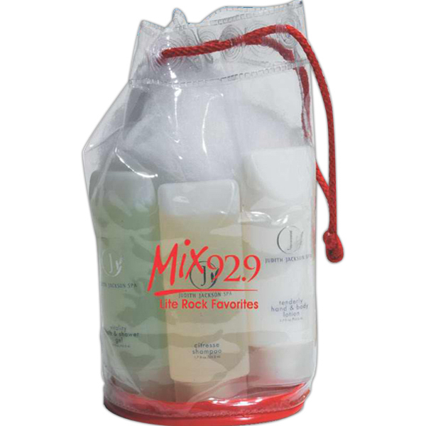 Imprinted Clear drawstring amenity bag