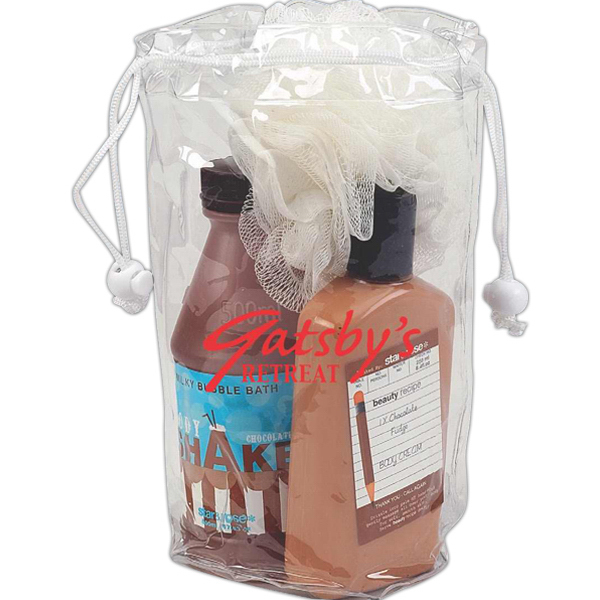 Custom Large clear drawstring amenity bag