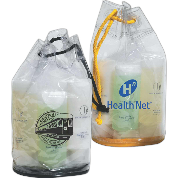 Promotional Clear drawstring amenity bag
