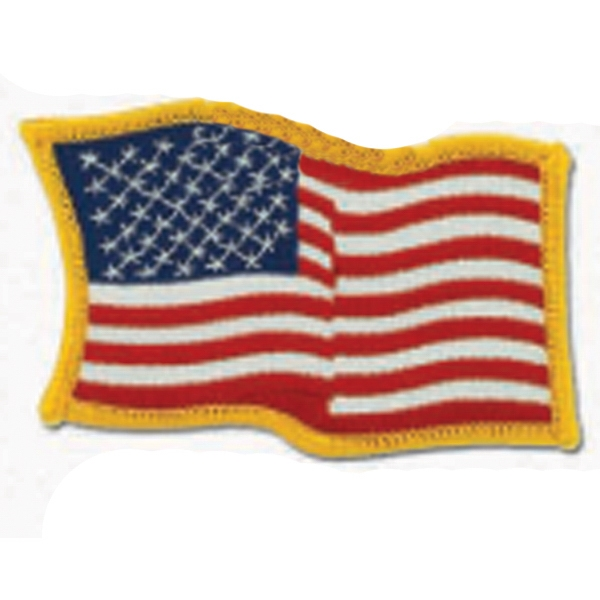 Customized Patriotic Line Embroidered Waving Flag Patch