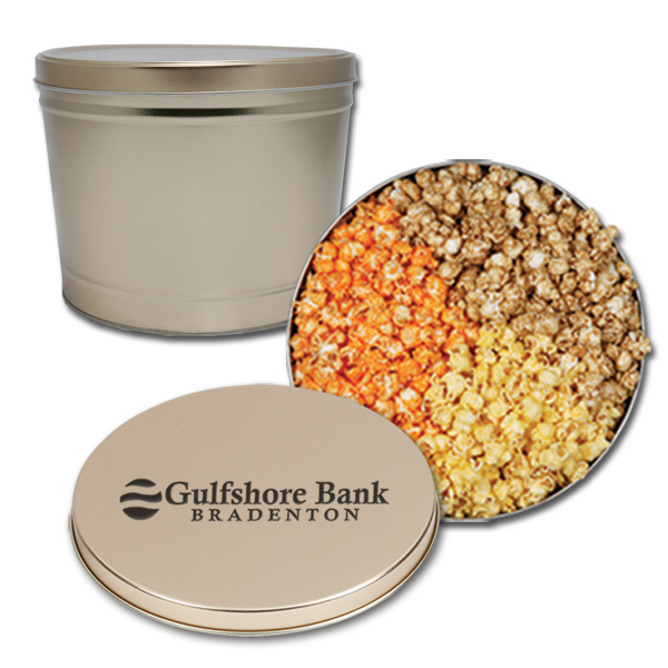 Customized Popcorn 3-way 2 gallon tin