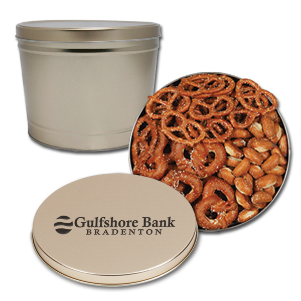 Imprinted Pretzels 3-way 2 gallon tin