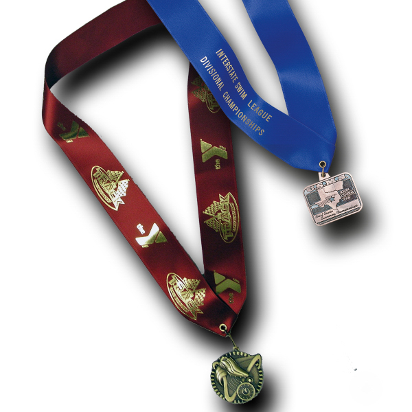 Imprinted Custom medallion holding neck ribbon