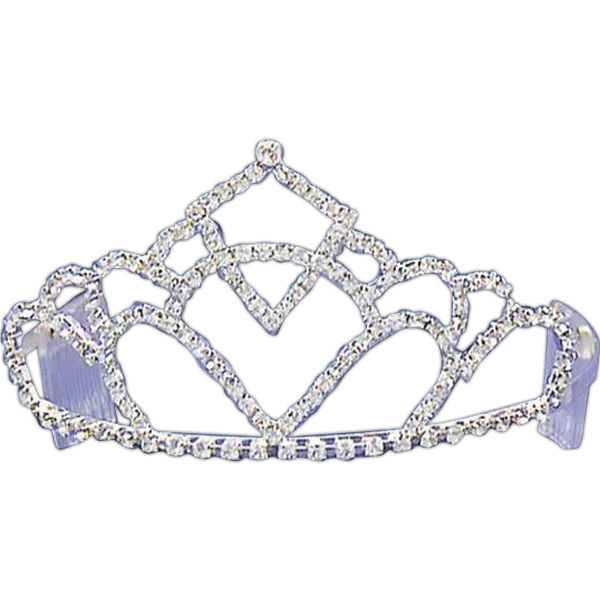 Promotional Rhinestone tiara with stacked curves design