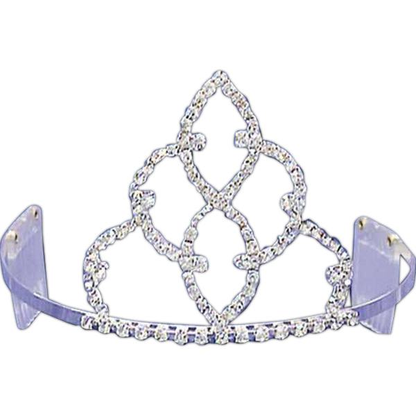 Printed Rhinestone tiara with double stacked teardrop shape