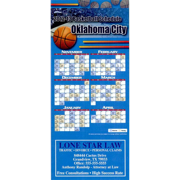 Promotional Professional Sports Schedule Magnet