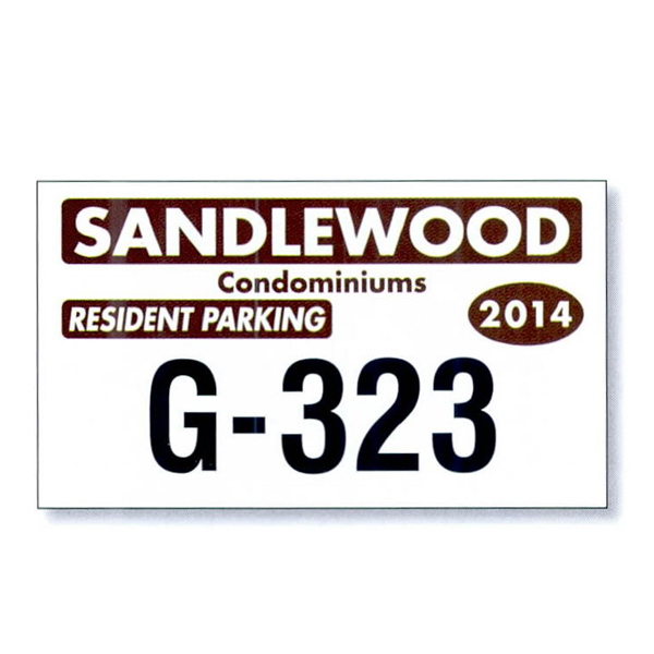Imprinted White Vinyl Parking Permit