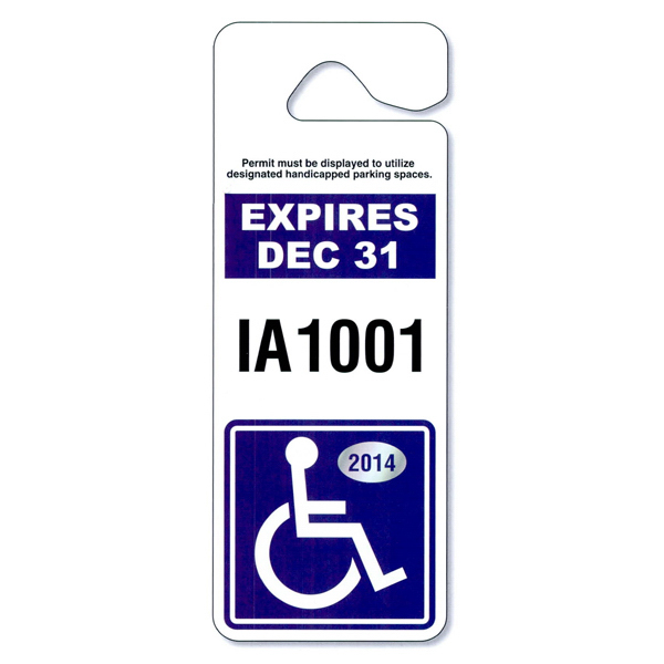 Imprinted Jumbo Hang Tag Parking Permit