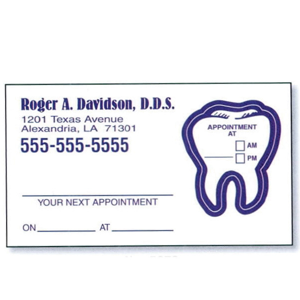 Printed Appointment Card with Removable Label