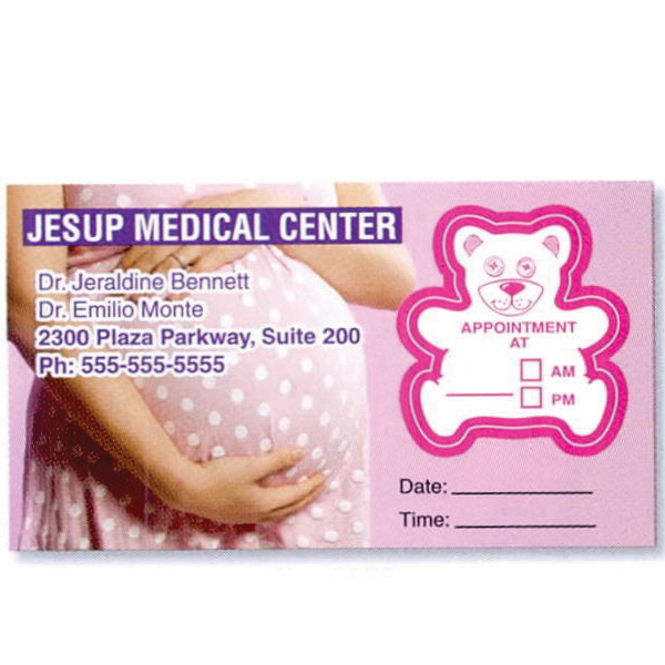 Personalized Appointment Card with Removable Label