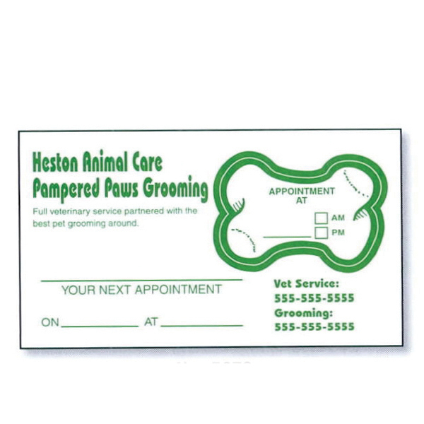 Promotional Appointment Card with a Removable Label