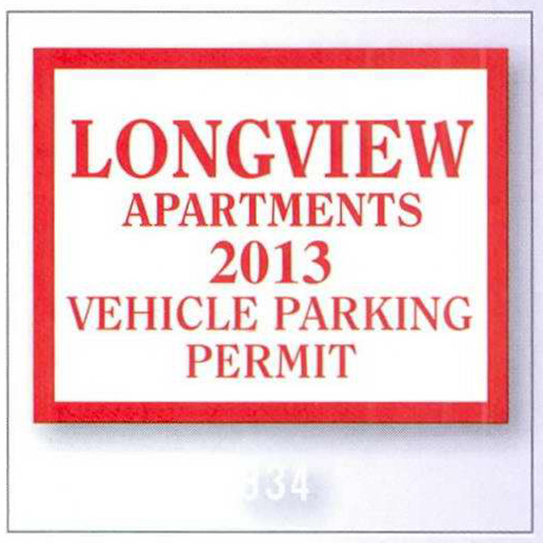 Personalized Square-Cut Parking Permit
