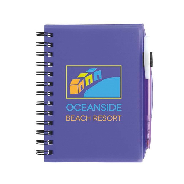 Imprinted Plastic Cover Notebook with Matching BIC (R) Media Clic (TM)