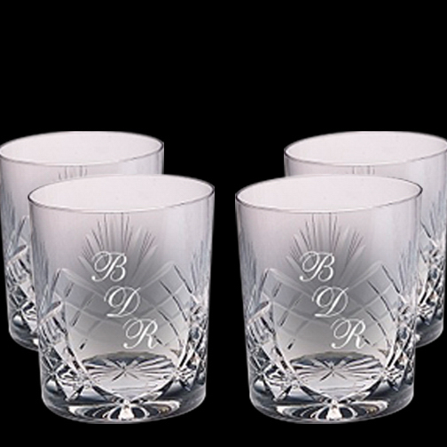 Imprinted Set Of Four Crystal On The Rocks Glasses