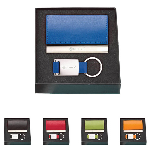 Promotional Leather Card Holder & Key Ring Set