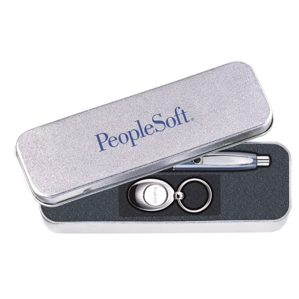 Imprinted Sandstone Tin Gift Box for Pen and Key Ring Sets