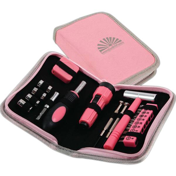 Printed 23 Piece Pink Tool Set