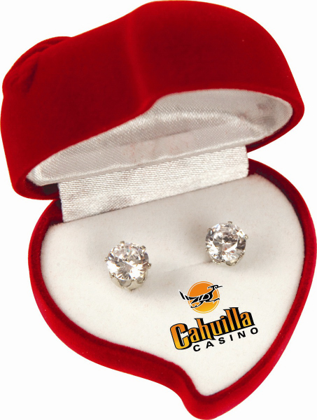 Printed Cubic Zirconia Earrings with Heart