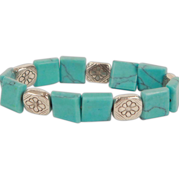 Customized Turquoise Square Cut Bracelet