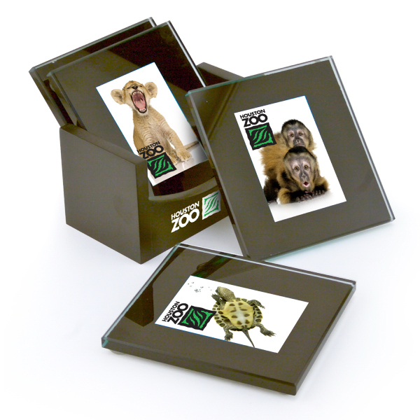 Promotional Glass Picture Coaster Set